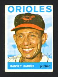 Harvey Haddix Autographed 1964 Topps Card #439 Baltimore Orioles SKU #165428