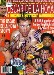 "Arturo Gatti, Oscar De La Hoya, Hector ""Macho"" Camacho, Michael Moorer, Lennox Lewis & Prince Naseem Hamed Autographed Magazine Cover PSA/DNA #Q06982"