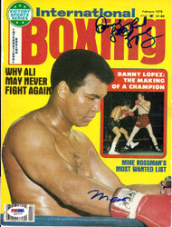Muhammad Ali & Danny Lopez Autographed International Boxing Magazine Cover PSA/DNA #S01575