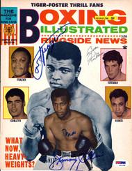 Muhammad Ali, Jimmy Ellis, Boone Kirkman & Joe Frazier Autographed Boxing Illustrated Magazine Cover PSA/DNA #S01584