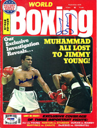 Muhammad Ali & Jimmy Young Autographed Boxing World Magazine Cover PSA/DNA #S01596