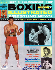 Muhammad Ali & Carlos Ortiz Autographed Boxing Illustrated Magazine Cover PSA/DNA #S01603
