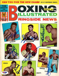 Joe Frazier, Floyd Patterson, Ken Mildenberger, Ernie Terrell, Jimmy Ellis, Thad Spencer & George Chuvalo Autographed Boxing Illustrated Magazine Cover PSA/DNA #S01608