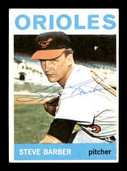 Steve Barber Autographed 1964 Topps Card #450 Baltimore Orioles SKU #170322