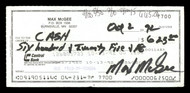 Max McGee Autographed 2.75x6 Check Green Bay Packers SKU #174017