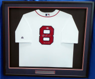"Boston Red Sox Carl Yastrzemski Autographed Framed White Majestic Cool Base Jersey ""HOF 89"" Beckett BAS Stock #174303"