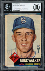 "Al ""Rube"" Walker Autographed 1953 Topps Card #134 Brooklyn Dodgers Beckett BAS #12058860"