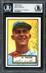 "Al ""Rube"" Walker Autographed 1983 1952 Topps Reprint Card #319 Brooklyn Dodgers Beckett BAS #12058762"