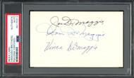 DiMaggio Brothers Autographed 3x5 Index Card Joe, Dom & Vince PSA/DNA #84170312
