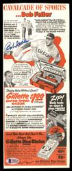 Bob Feller Autographed 5x12.5 Gillette Ad Advertisement Cleveland Indians Beckett BAS #T55118