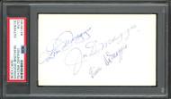 DiMaggio Brothers Autographed 3x5 Index Card Joe, Dom & Vince PSA/DNA #84195083