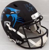 Christian McCaffrey Autographed Carolina Panthers Black AMP Full Size Speed Replica Helmet (Scuff) Beckett BAS #WA47391
