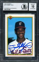 Sammy Sosa Autographed 1990 Bowman Rookie Card #312 Chicago White Sox Auto Grade 10 Beckett BAS Stock #177675