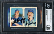 Dan Quisenberry & Dale Murphy Autographed 1984 Topps Stickers Card #199 Beckett BAS #12061664