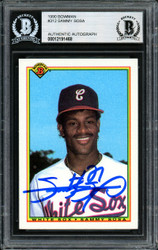 Sammy Sosa Autographed 1990 Bowman Rookie Card #312 Chicago White Sox Beckett BAS #12191468