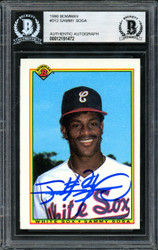 Sammy Sosa Autographed 1990 Bowman Rookie Card #312 Chicago White Sox Beckett BAS #12191472