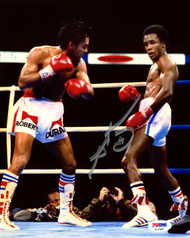 Sugar Ray Leonard Autographed 8x10 Photo vs. Roberto Duran PSA/DNA Stock #177808