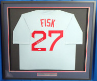 Boston Red Sox Carlton Fisk Autographed Framed Gray Jersey Beckett BAS Stock #177846