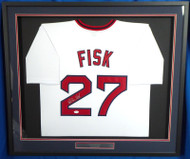 Boston Red Sox Carlton Fisk Autographed Framed White Jersey JSA Stock #177847