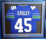 Seattle Seahawks Kenny Easley Autographed Framed Blue Jersey MCS Holo Stock #177855