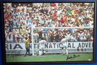 "Pele & Gordon Banks Autographed Framed 20x30 Canvas Photo ""The Greatest Save"" 1970 World Cup Beckett BAS Stock #177858"