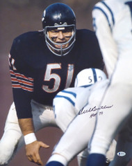"Dick Butkus Autographed 16x20 Photo Chicago Bears ""HOF 79"" Beckett BAS Stock #178264"