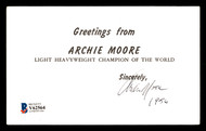 Archie Moore Autographed 3.5x6 Postcard Vintage 1956 Signature Signed Twice Beckett BAS #V62564