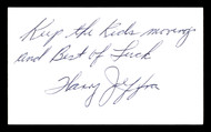 "Harry Jeffra Autographed 3x5 Index Card Bantamweight Champ ""Best Of Luck"" SKU #179725"
