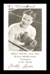 """Billy Soose Autographed Business Card Boxer """"To Michael"""" SKU #179768"""