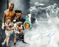 Floyd Mayweather Jr. Autographed 16x20 Photo Pacquiao & McGregor Collage JSA #WPP642517