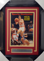 Pistol Pete Maravich & Lou Hudson Autographed Framed Sports Illustrated Magazine Cover Atlanta Hawks JSA #BB38852