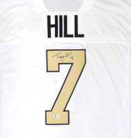 New Orleans Saints Taysom Hill Autographed White Jersey Beckett BAS Stock #181313