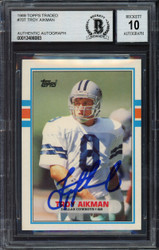 Troy Aikman Autographed 1989 Topps Traded Rookie Card #70T Dallas Cowboys Auto Grade Gem Mint 10 Beckett BAS Stock #181873