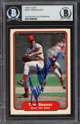 Tom Seaver Autographed 1982 Fleer Card #645 Cincinnati Reds Beckett BAS #12486493