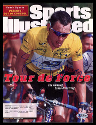 Lance Armstrong Autographed Sports Illustrated Magazine Tour de Force Beckett BAS #A34701