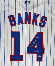 """Chicago Cubs Ernie Banks Autographed Majestic Cool Base Jersey Size XL """"HOF 1977"""" Stock #182299"""