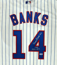 """Chicago Cubs Ernie Banks Autographed Majestic Cool Base Jersey Size XL """"Cubs 1953/1971"""" Stock #182306"""