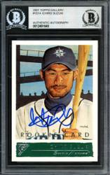 Ichiro Suzuki Autographed 2001 Topps Gallery English Rookie Card #151 Seattle Mariners Beckett BAS #12491649