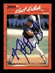 Kent Hrbek Autographed 1990 Donruss Card #81 Minnesota Twins SKU #184454
