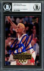 Dennis Rodman Autographed 1995-96 Fleer Ultra Card #210 Chicago Bulls Beckett BAS #12516998