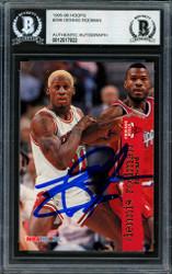 Dennis Rodman Autographed 1995-96 Hoops Card #298 Chicago Bulls Beckett BAS #12517022