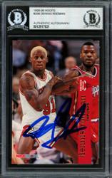 Dennis Rodman Autographed 1995-96 Hoops Card #298 Chicago Bulls Beckett BAS #12517021