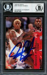 Dennis Rodman Autographed 1995-96 Hoops Card #298 Chicago Bulls Beckett BAS #12517023
