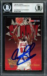 Dennis Rodman Autographed 1995-96 Hoops Card #376 Chicago Bulls Beckett BAS #12517024