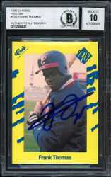 Frank Thomas Autographed 1990 Classic Series III Rookie Card #T93 Chicago White Sox Auto Grade 10 Beckett BAS Stock #185189
