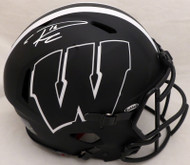 Russell Wilson Autographed Wisconsin Badgers Eclipse Black Full Size Speed Authentic Helmet (Smudge) RW Holo & Beckett BAS #WE94132