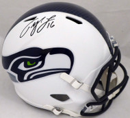 Tyler Lockett Autographed Seattle Seahawks Flat Matte White Full Size Speed Replica Helmet (Smudge) MCS Holo #54452