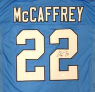 Carolina Panthers Christian McCaffrey Autographed Blue Jersey Beckett BAS Stock #185940