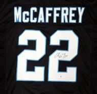 Carolina Panthers Christian McCaffrey Autographed Black Jersey Beckett BAS Stock #185941