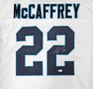 Carolina Panthers Christian McCaffrey Autographed White Jersey Beckett BAS Stock #185942